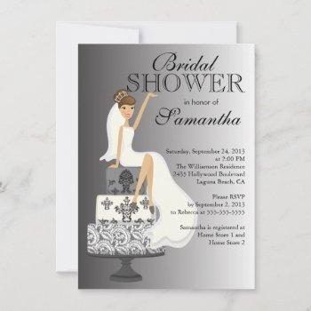 modern grey brunette bride bridal shower invitation