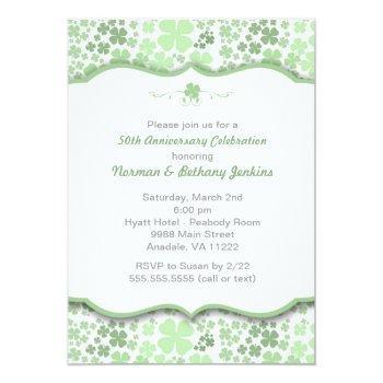 modern irish anniversary party invite with clovers