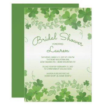 modern irish shamrock bridal shower invitation