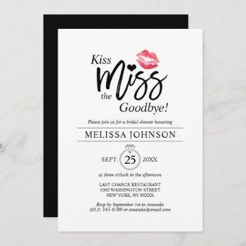 modern kiss miss goodbye red lips bridal shower invitation