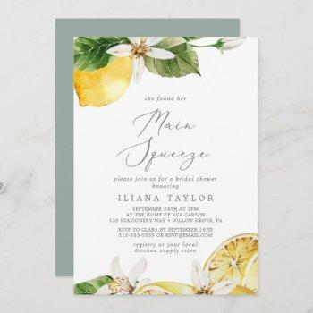 modern lemon garden main squeeze bridal shower invitation