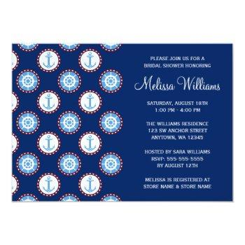 modern nautical anchor wheel bridal shower invitation