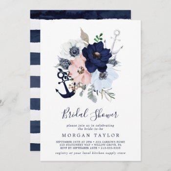 modern nautical | floral anchor bridal shower invitation
