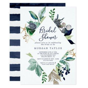 modern nautical | greenery bridal shower invitation