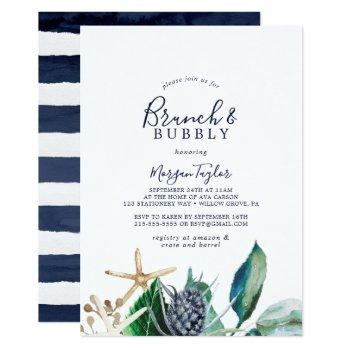 modern nautical | greenery brunch and bubbly invitation