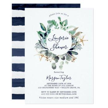 modern nautical | greenery lingerie shower invitation