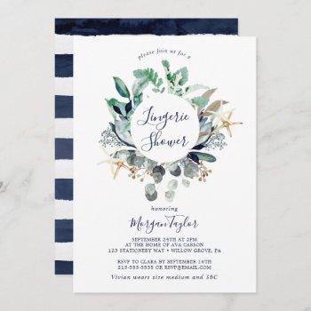 modern nautical | greenery lingerie shower invitation