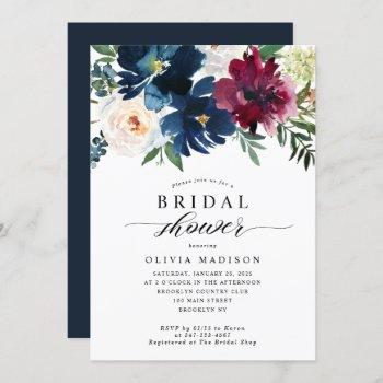 modern navy blue burgundy floral bridal shower invitation