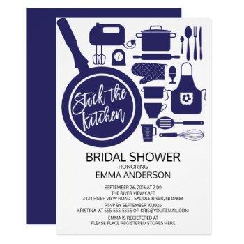 modern navy blue kitchen bridal shower invitation