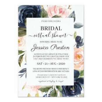 Modern Navy Blush Floral Virtual Bridal Shower Invitation Front View