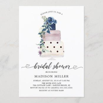 modern navy & plum floral cake bridal shower invitation