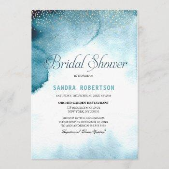 modern ocean blue ombre watercolor bridal shower invitation