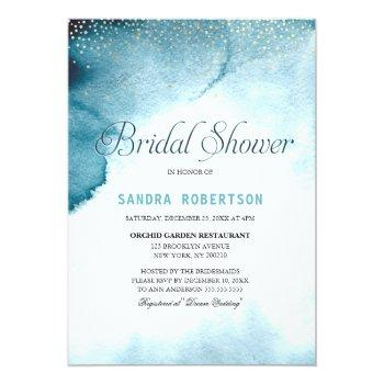 modern ocean blue ombre watercolor bridal shower invitation