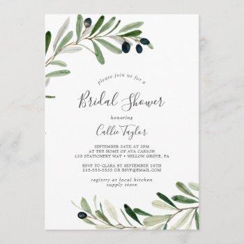 modern olive branch bridal shower invitation