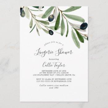 modern olive branch lingerie shower invitation
