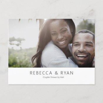 modern photo couples bridal shower by mail  invitation postcard