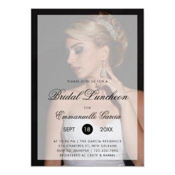 modern photo with chic script bridal luncheon invitation