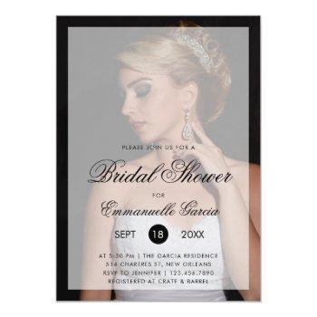 modern photo with chic script bridal shower invitation
