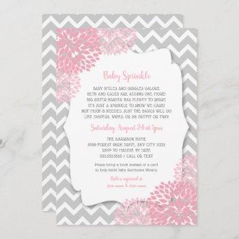 modern pink dahlia baby sprinkle invites