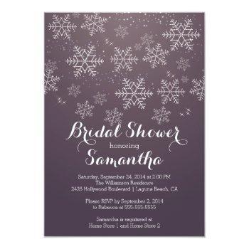 modern purple snowflake bridal shower invitation