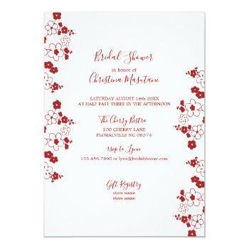 modern red & white cherry blossom bridal shower invitation