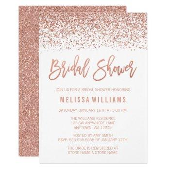 modern rose gold faux glitter bridal shower invitation