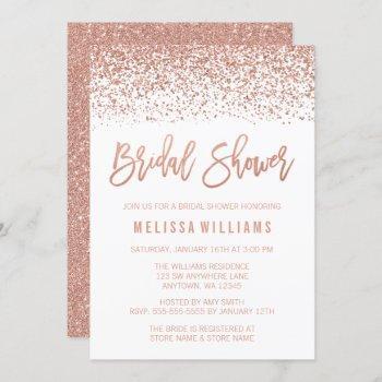 modern rose gold faux glitter bridal shower invitation