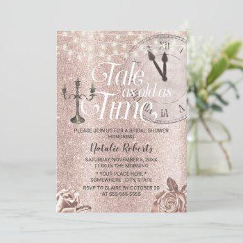 modern rose gold floral fairy tale bridal shower invitation