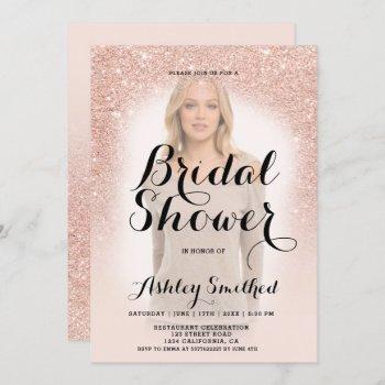 modern rose gold glitter ombre photo bridal shower invitation