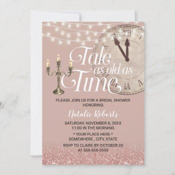 modern rose gold tale as old as time bridal shower invitation
