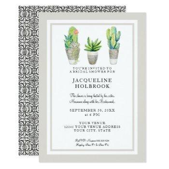 modern rustic desert cactus pots bridal shower invitation
