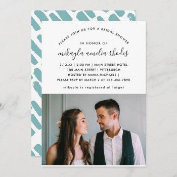 modern script bridal shower photo invitation