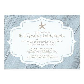 modern starfish beach bridal shower invitations