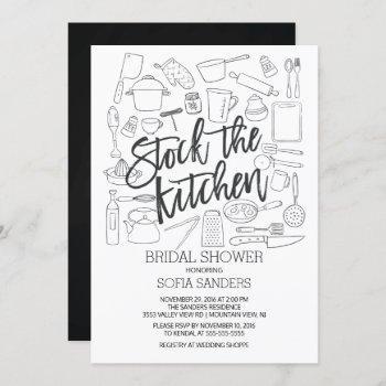 modern stock the kitchen tools bridal shower invitation
