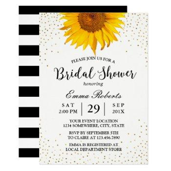 modern sunflower gold confetti dots bridal shower invitation