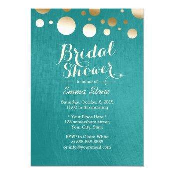 modern teal green gold dots bridal shower invitation