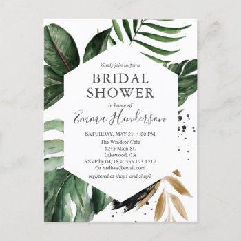 modern tropical greenery bridal shower invitation postcard
