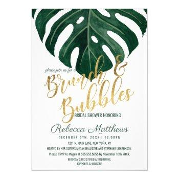 modern tropical swiss cheese gold brunch bubbles invitation