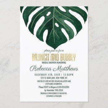 modern tropical swiss cheese gold brunch bubbly invitation