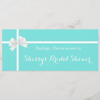 modern turquoise bridal shower box with bow invitation