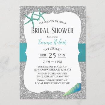 modern turquoise starfish silver bridal shower invitation