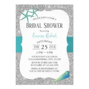 modern turquoise starfish silver bridal shower invitation