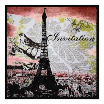 modern vintage eiffel tower paris bridal shower invitation