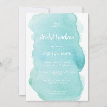 modern watercolor mint turquoise bridal luncheon invitation