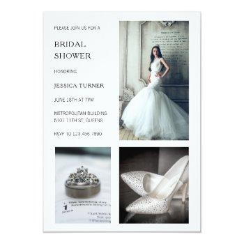modern white photo collage bridal shower invitation