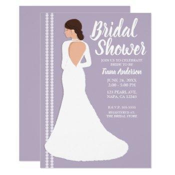modern white wedding dress & bling bridal shower invitation