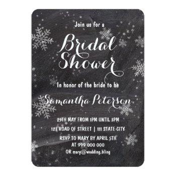 modern winter snowflakes chalkboard bridal shower invitation