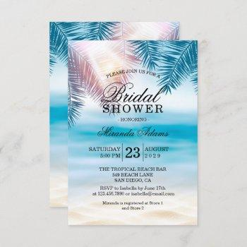 moderntropical ocean summer beach bridal shower invitation