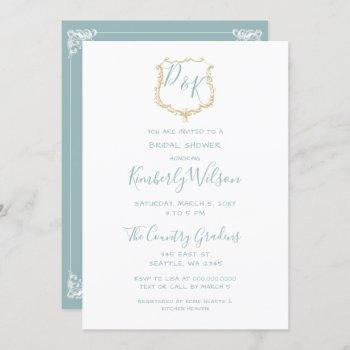 monogram crest gold dusty blue bridal shower invitation