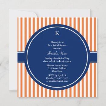 monogram orange and white stripes with royal blue invitation